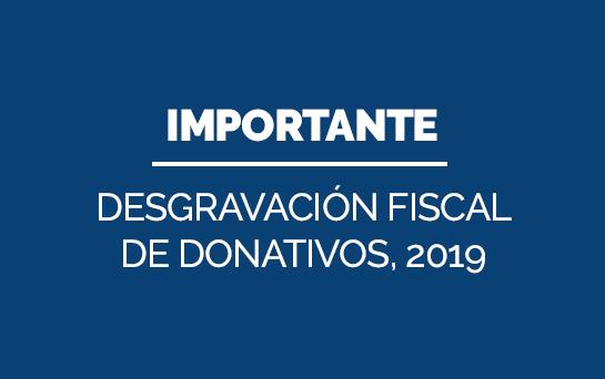 Desgravación fiscal de los donativos realizados en 2019