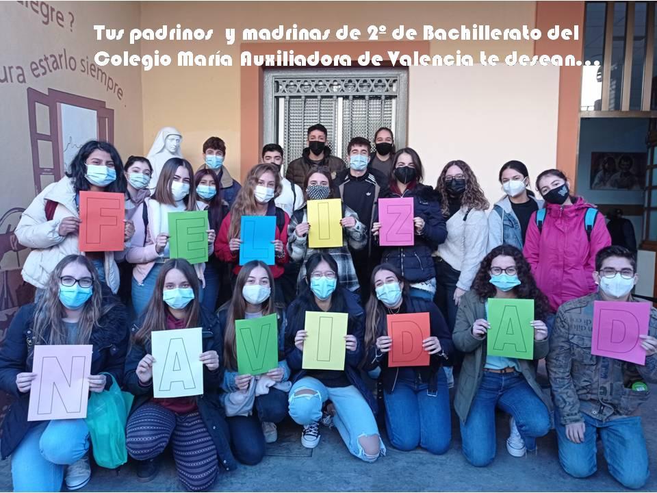 El alumnado del Colegio María Auxiliadora de Valencia felicita la navidad a los niños y niñas de Barahona